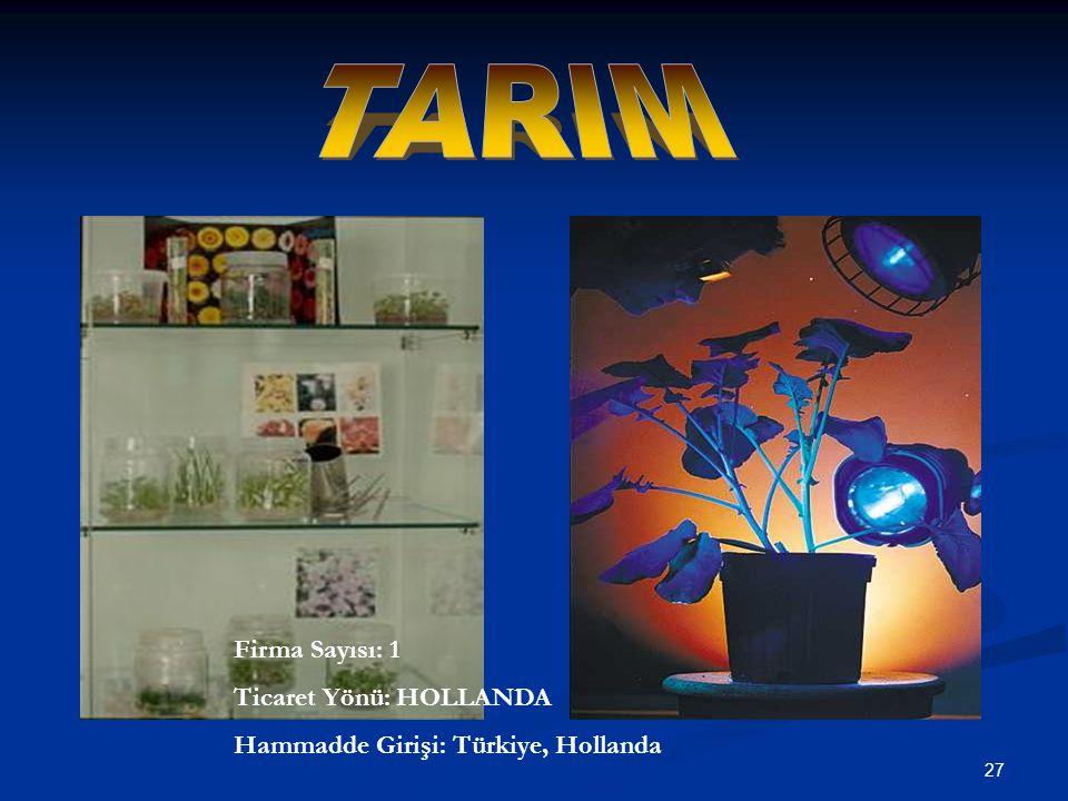 TARIM Firma Sayısı: 1 Ticaret Yönü: HOLLANDA