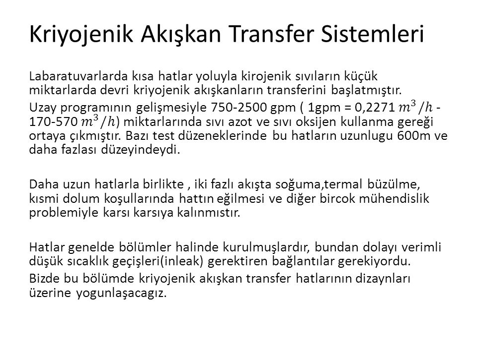 Kriyojenik Akışkan Transfer Sistemleri