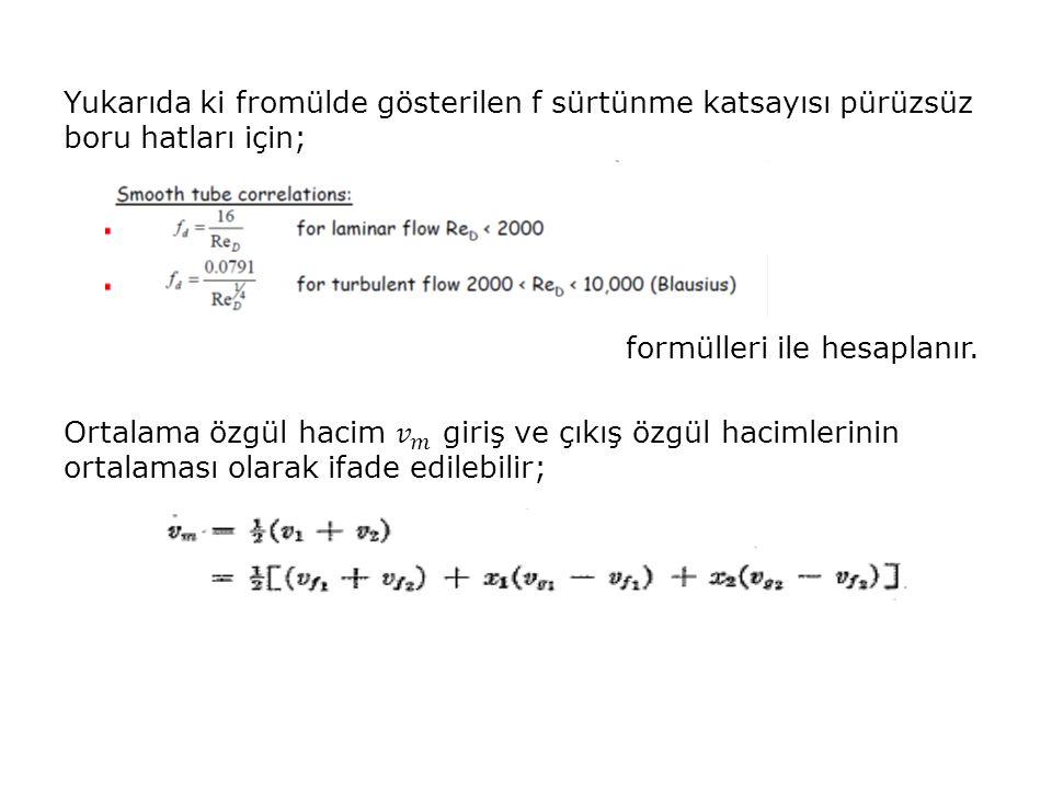 Yukarıda ki fromülde gösterilen f sürtünme katsayısı pürüzsüz boru hatları için; formülleri ile hesaplanır.