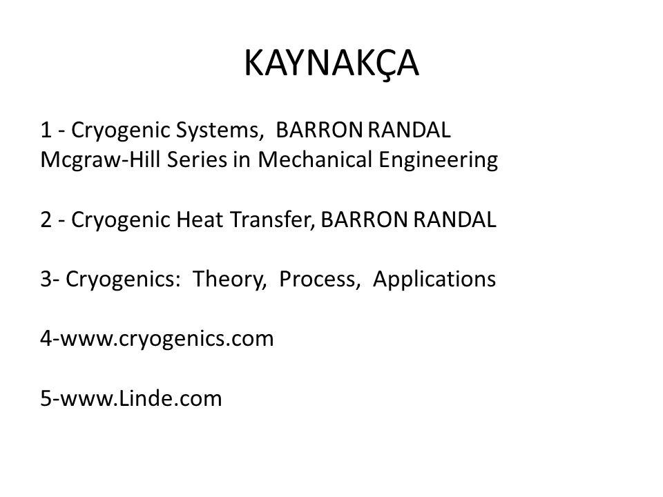KAYNAKÇA 1 - Cryogenic Systems, BARRON RANDAL