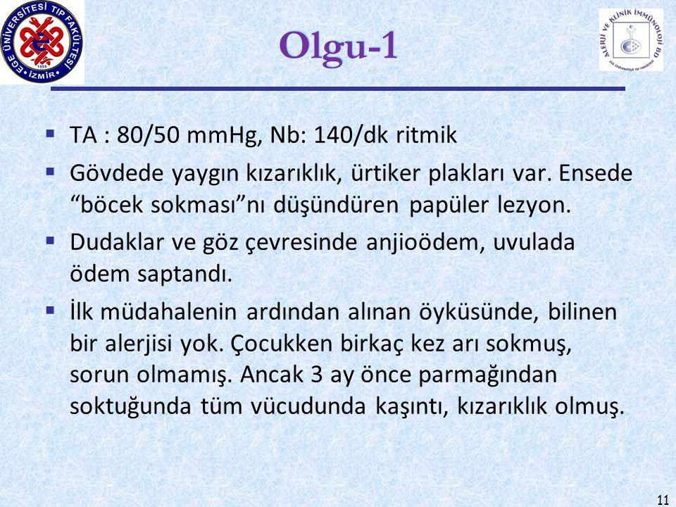 Olgu-1 TA : 80/50 mmHg, Nb: 140/dk ritmik