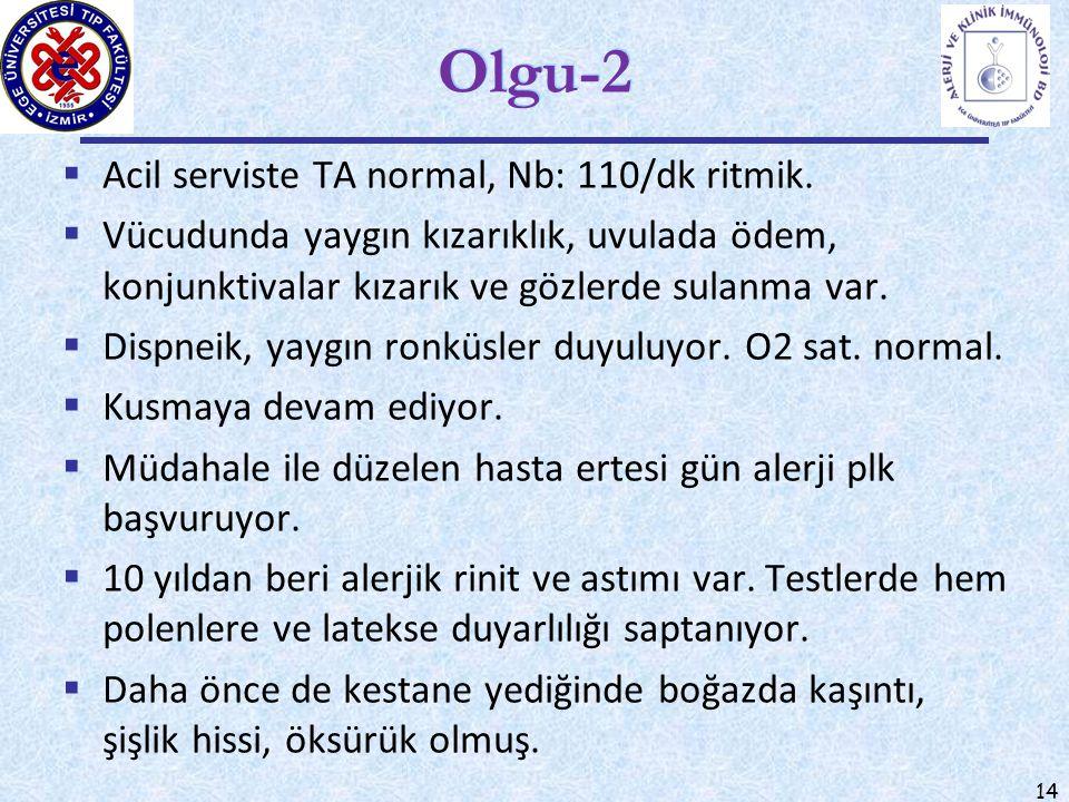 Olgu-2 Acil serviste TA normal, Nb: 110/dk ritmik.