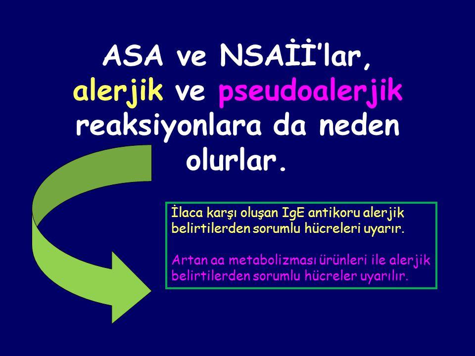 ASA ve NSAİİ'lar, alerjik ve pseudoalerjik reaksiyonlara da neden olurlar.