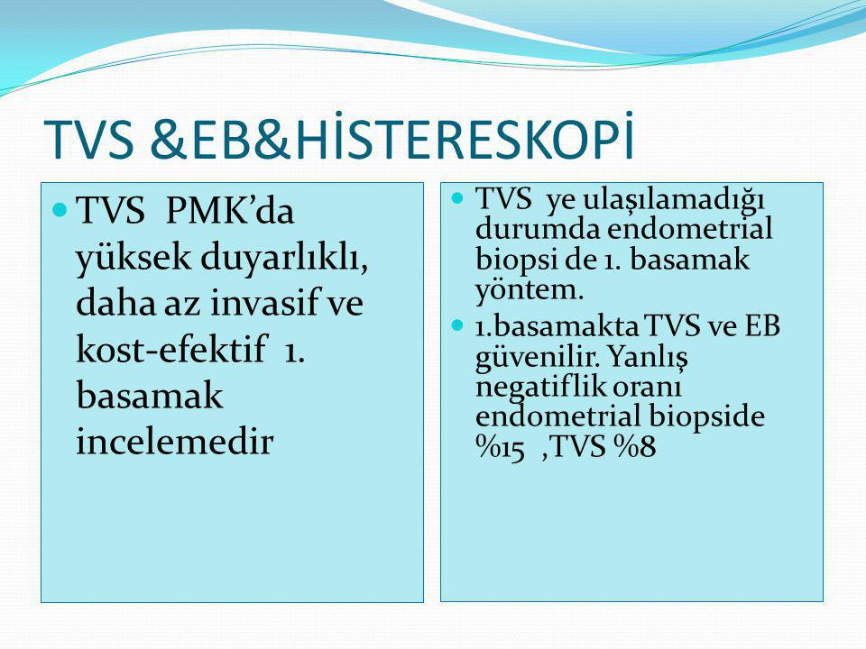 TVS &EB&HİSTERESKOPİ TVS PMK'da yüksek duyarlıklı, daha az invasif ve kost-efektif 1. basamak incelemedir.