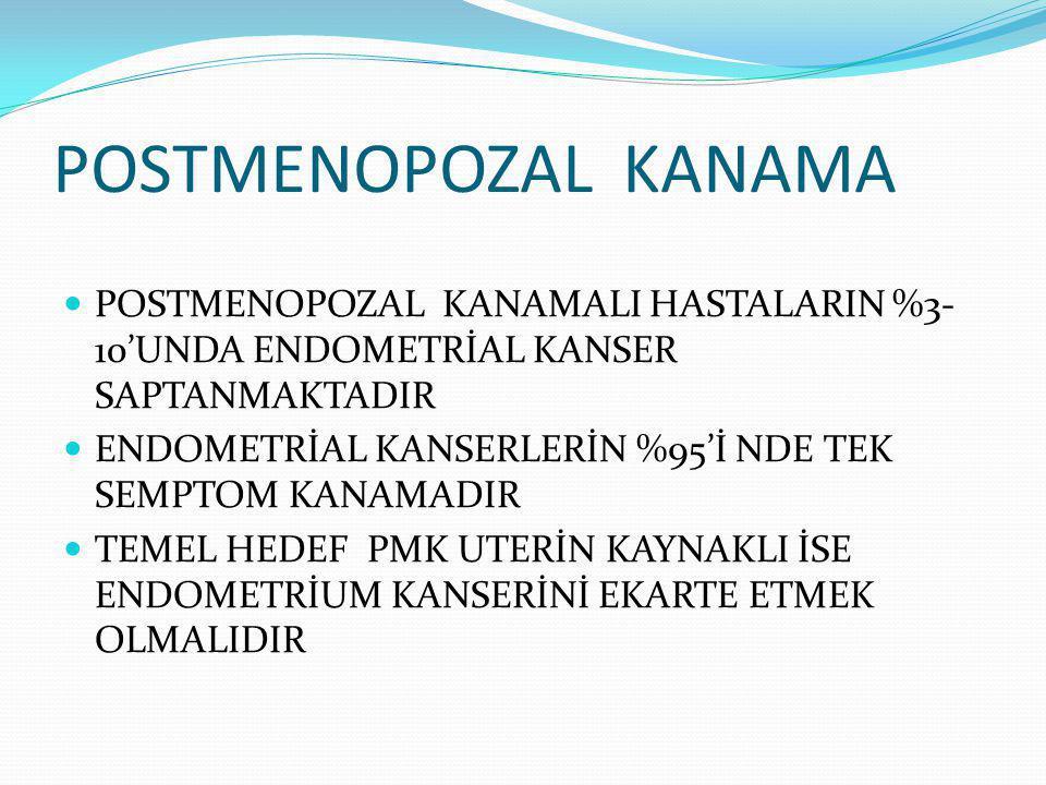 POSTMENOPOZAL KANAMA POSTMENOPOZAL KANAMALI HASTALARIN %3-10'UNDA ENDOMETRİAL KANSER SAPTANMAKTADIR.