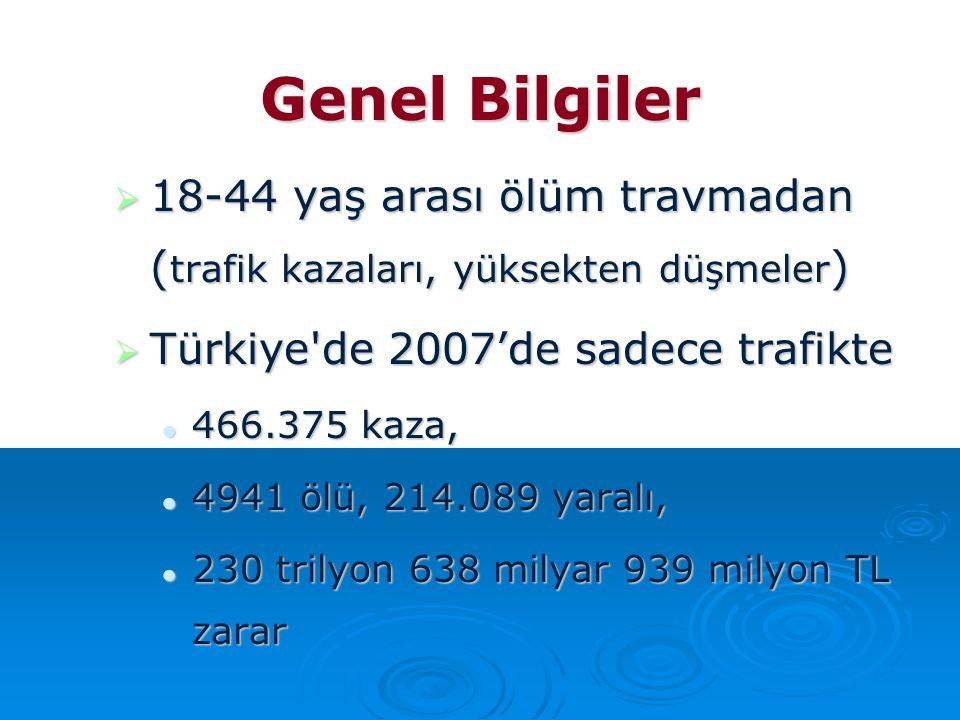 Genel Bilgiler 18-44 yaş arası ölüm travmadan (trafik kazaları, yüksekten düşmeler) Türkiye de 2007'de sadece trafikte.