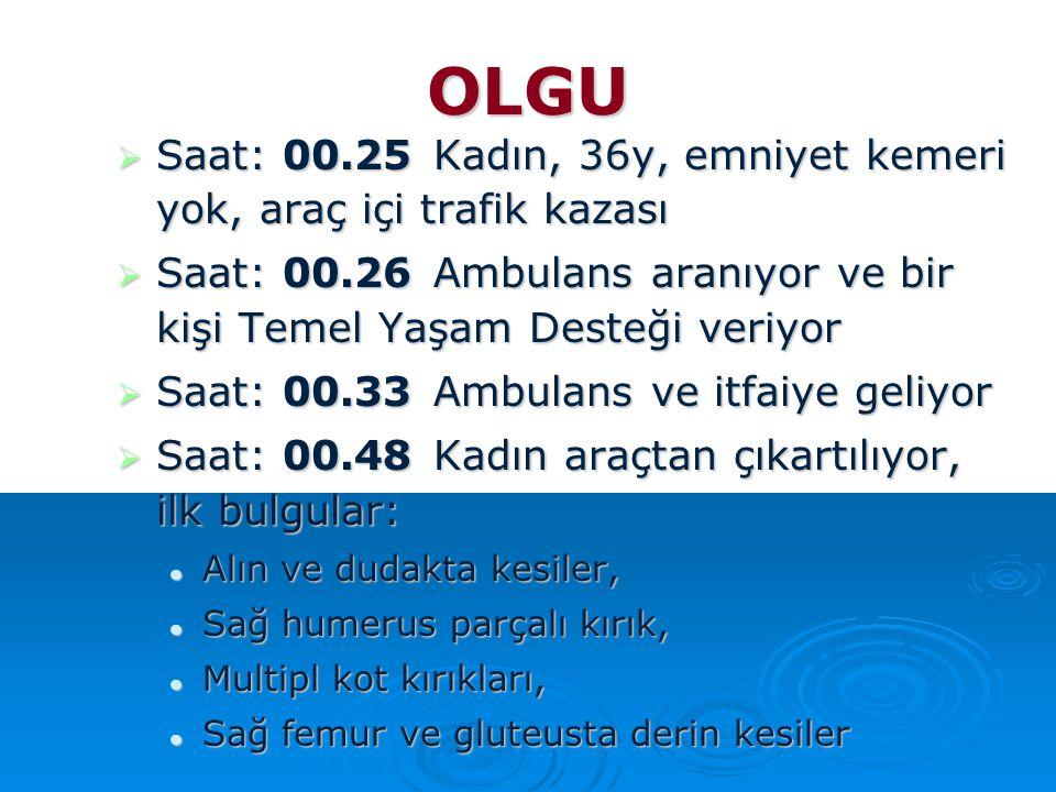 OLGU Saat: 00.25 Kadın, 36y, emniyet kemeri yok, araç içi trafik kazası. Saat: 00.26 Ambulans aranıyor ve bir kişi Temel Yaşam Desteği veriyor.