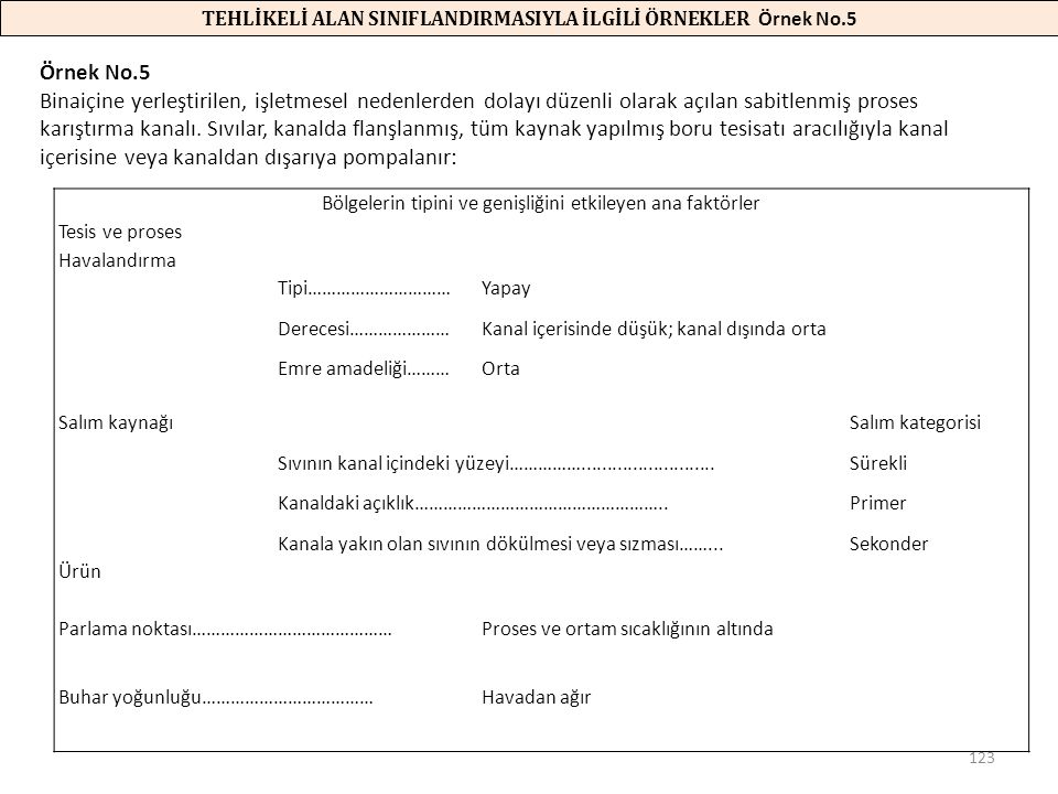TEHLİKELİ ALAN SINIFLANDIRMASIYLA İLGİLİ ÖRNEKLER Örnek No.5
