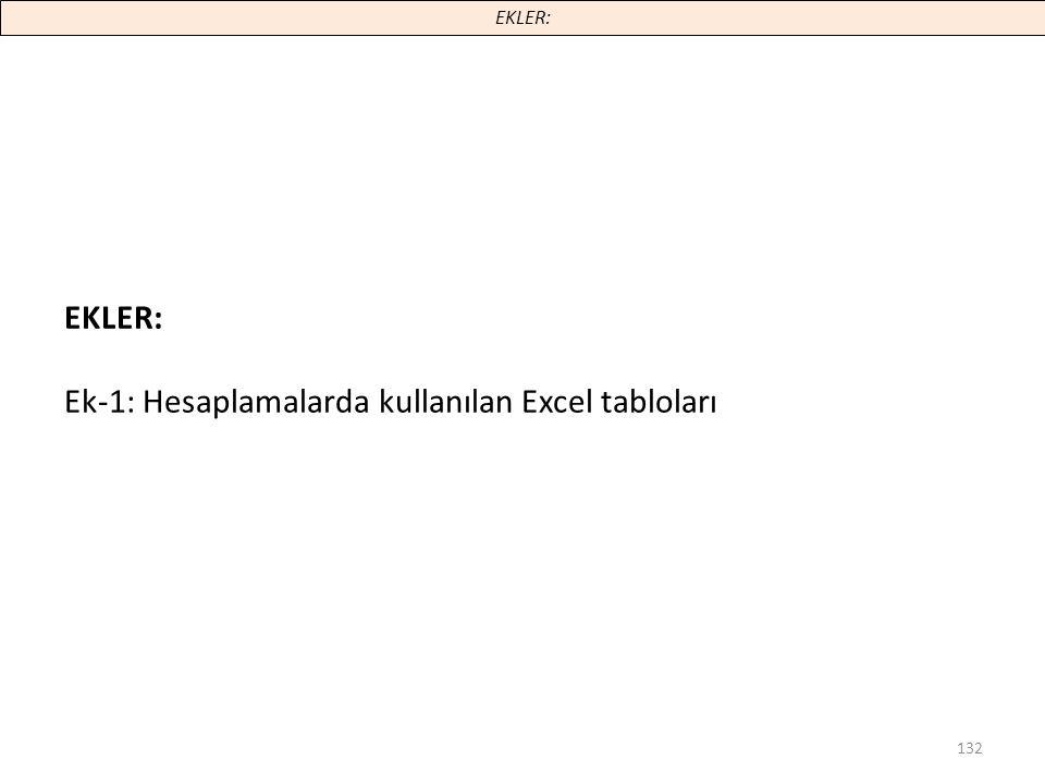 Ek-1: Hesaplamalarda kullanılan Excel tabloları