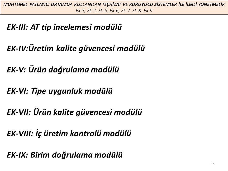 EK-III: AT tip incelemesi modülü EK-IV:Üretim kalite güvencesi modülü