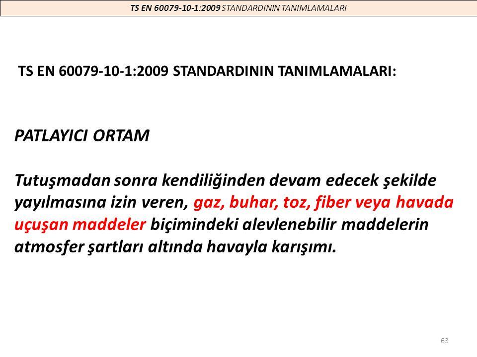 TS EN 60079-10-1:2009 STANDARDININ TANIMLAMALARI