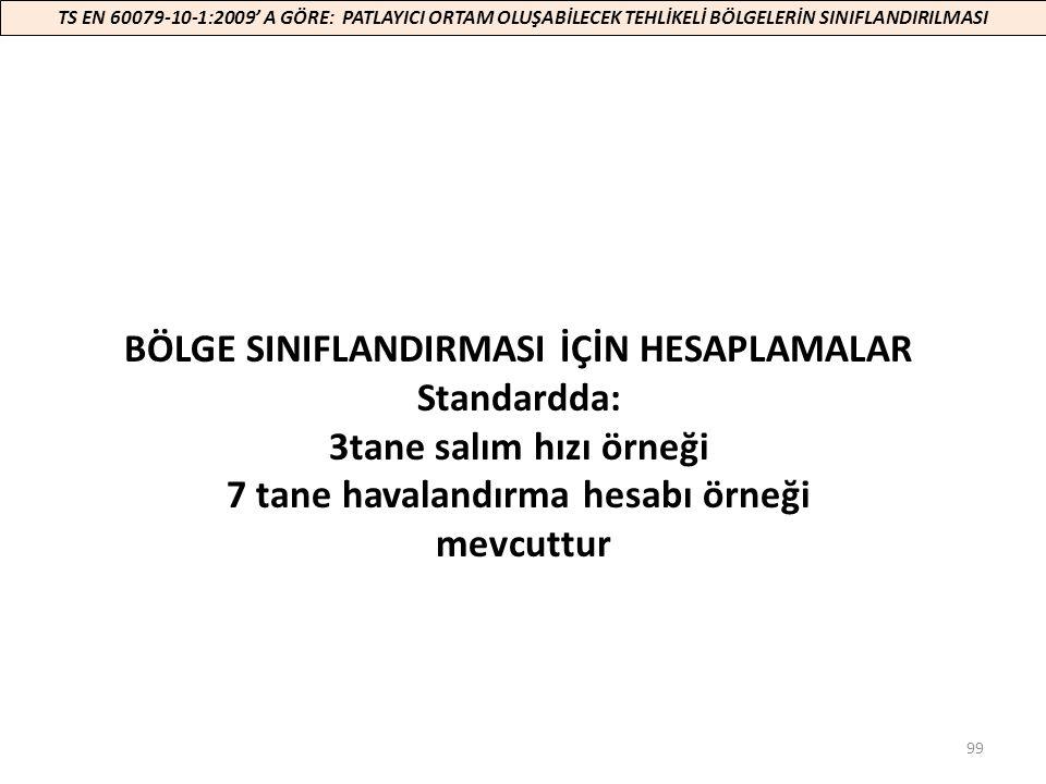 BÖLGE SINIFLANDIRMASI İÇİN HESAPLAMALAR Standardda: