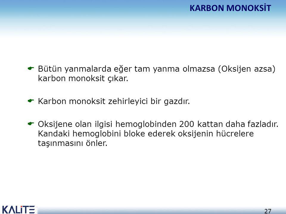 KARBON MONOKSİT Bütün yanmalarda eğer tam yanma olmazsa (Oksijen azsa) karbon monoksit çıkar. Karbon monoksit zehirleyici bir gazdır.
