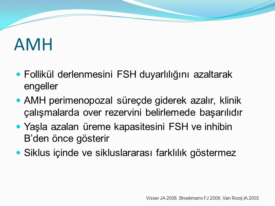 AMH Follikül derlenmesini FSH duyarlılığını azaltarak engeller