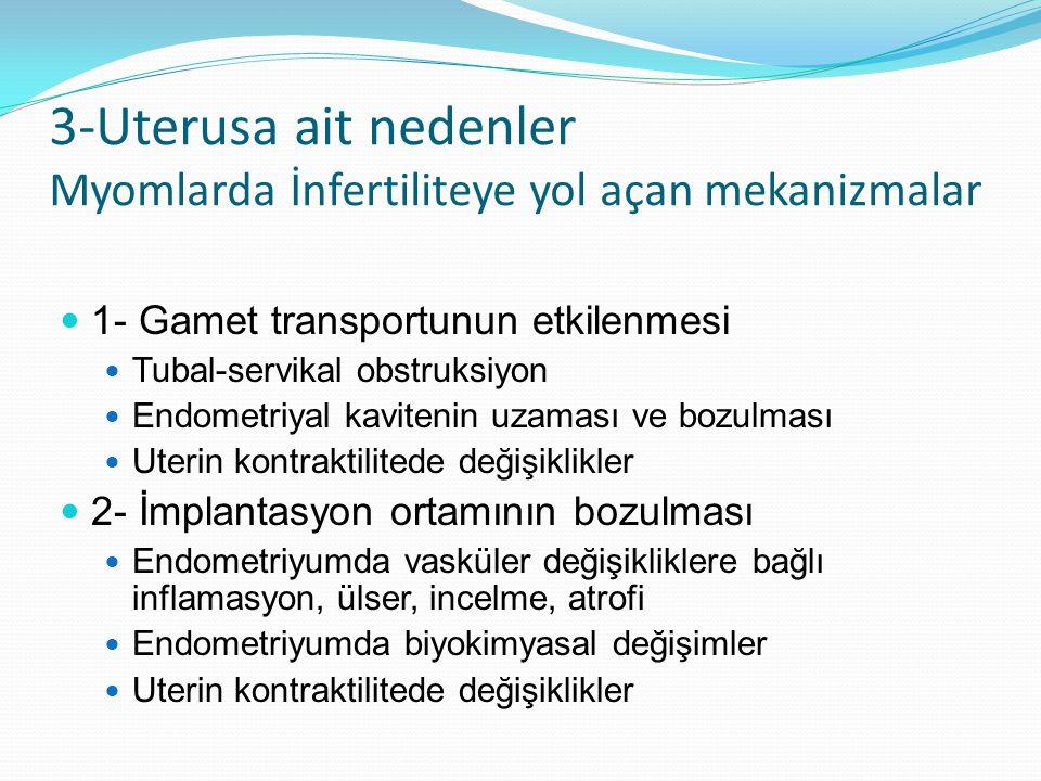 3-Uterusa ait nedenler Myomlarda İnfertiliteye yol açan mekanizmalar