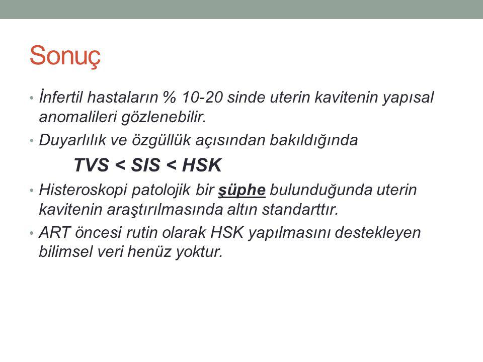 Sonuç TVS < SIS < HSK