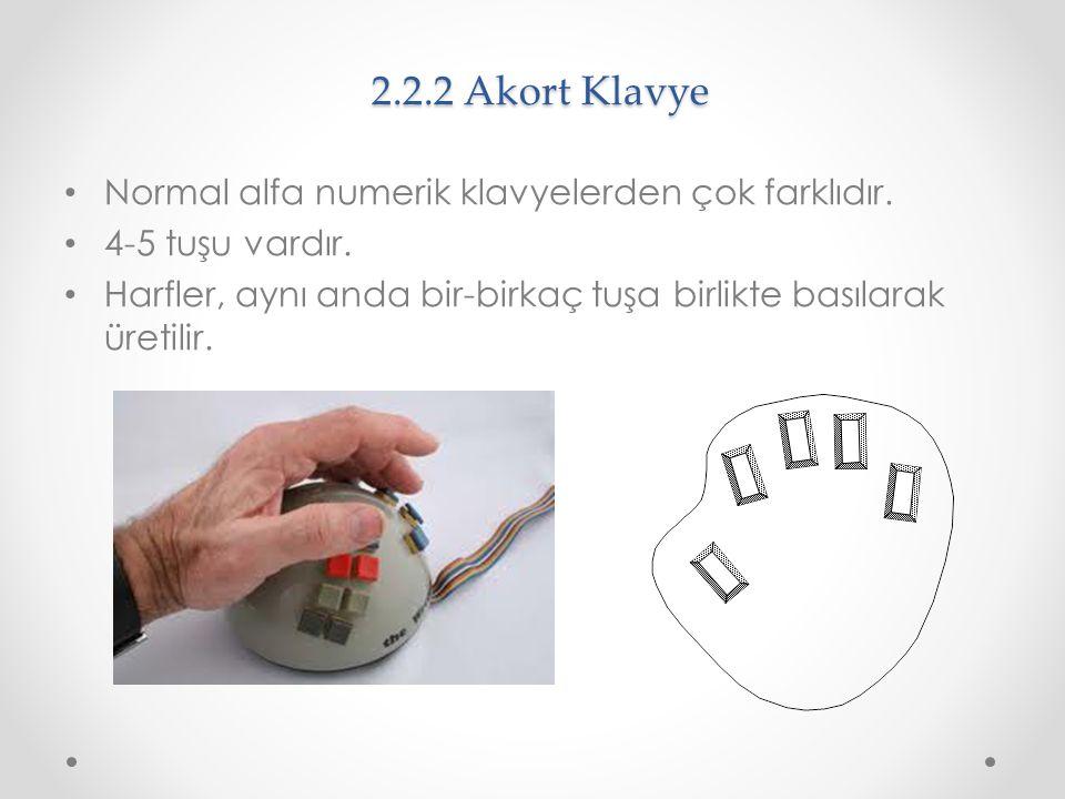 2.2.2 Akort Klavye Normal alfa numerik klavyelerden çok farklıdır.