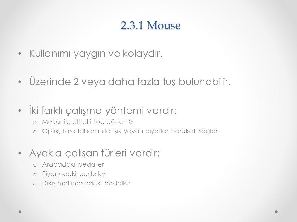 2.3.1 Mouse Kullanımı yaygın ve kolaydır.