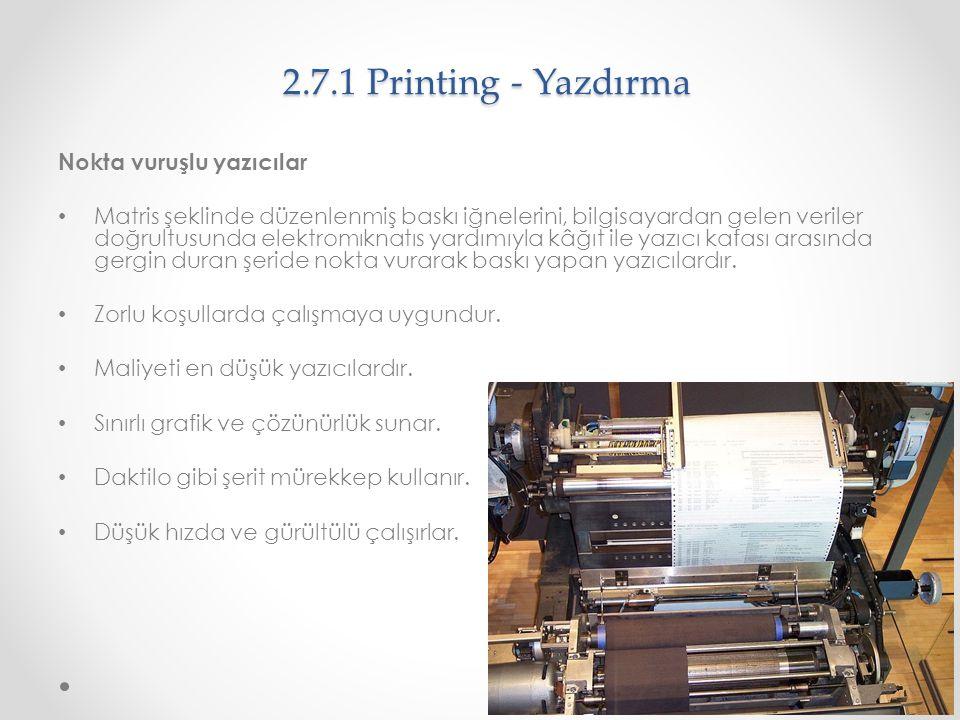 2.7.1 Printing - Yazdırma Nokta vuruşlu yazıcılar