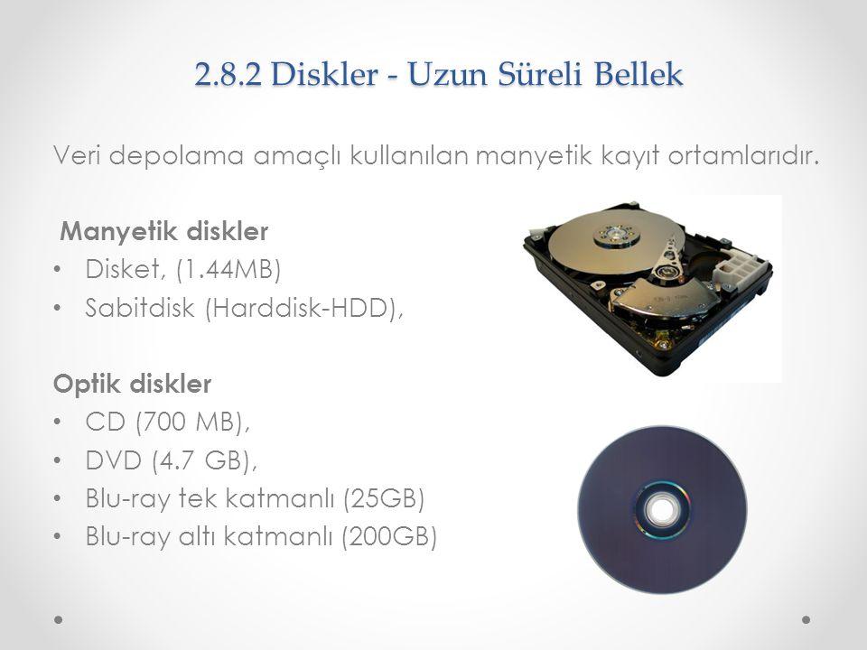 2.8.2 Diskler - Uzun Süreli Bellek