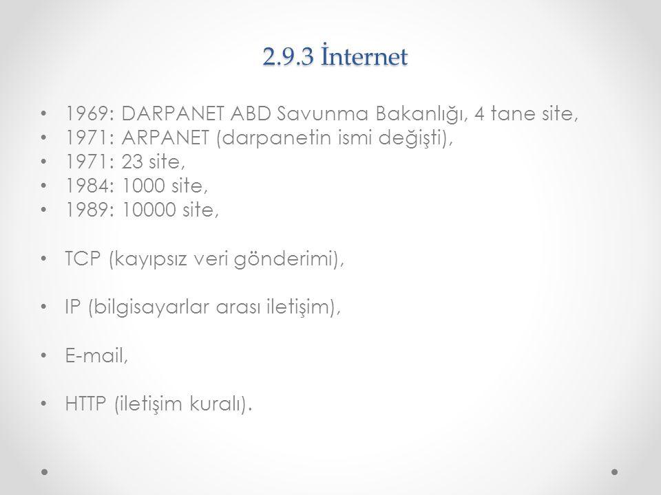 2.9.3 İnternet 1969: DARPANET ABD Savunma Bakanlığı, 4 tane site,