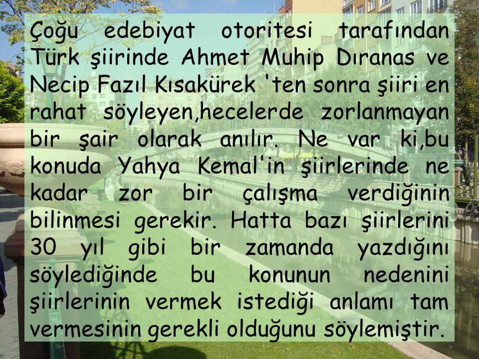 Çoğu edebiyat otoritesi tarafından Türk şiirinde Ahmet Muhip Dıranas ve Necip Fazıl Kısakürek ten sonra şiiri en rahat söyleyen,hecelerde zorlanmayan bir şair olarak anılır.
