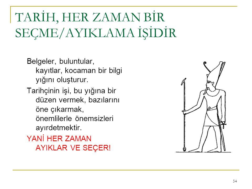 TARİH, HER ZAMAN BİR SEÇME/AYIKLAMA İŞİDİR