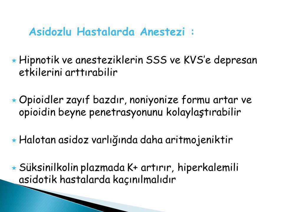 Asidozlu Hastalarda Anestezi :