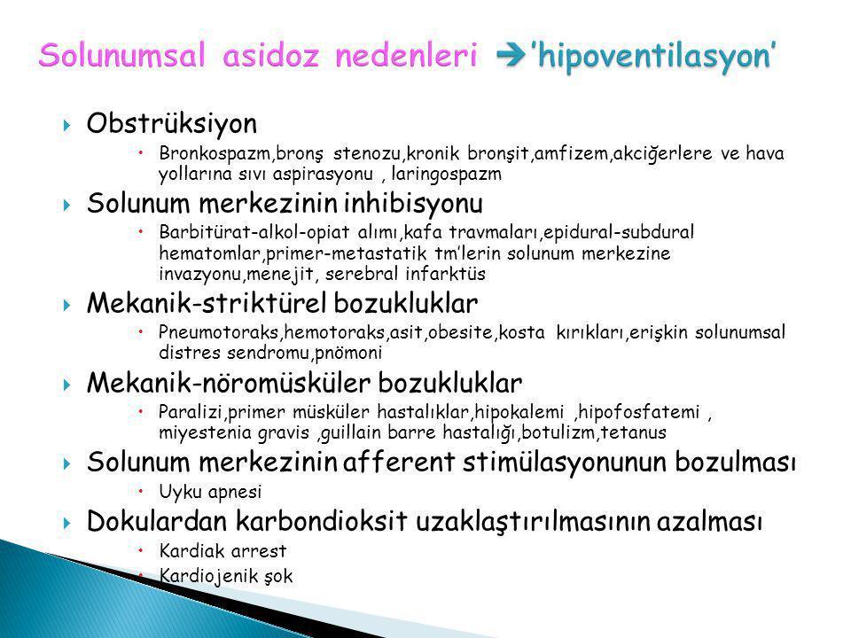 Solunumsal asidoz nedenleri 'hipoventilasyon'