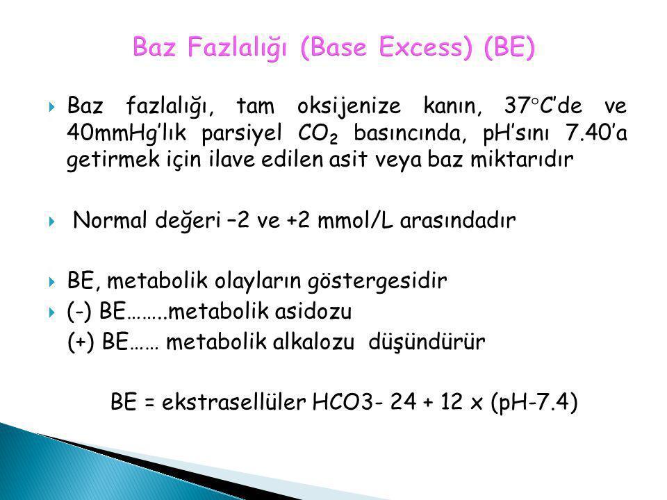 Baz Fazlalığı (Base Excess) (BE)