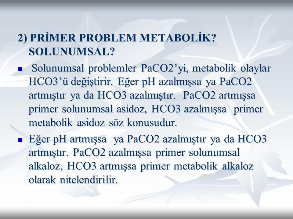 2) PRİMER PROBLEM METABOLİK SOLUNUMSAL