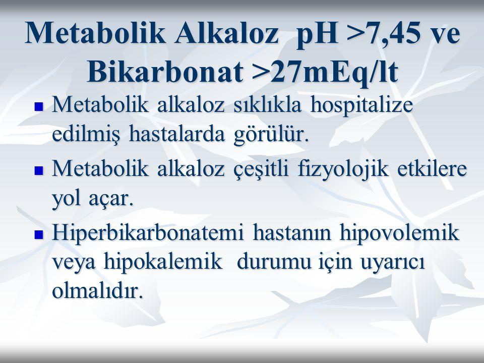 Metabolik Alkaloz pH >7,45 ve Bikarbonat >27mEq/lt