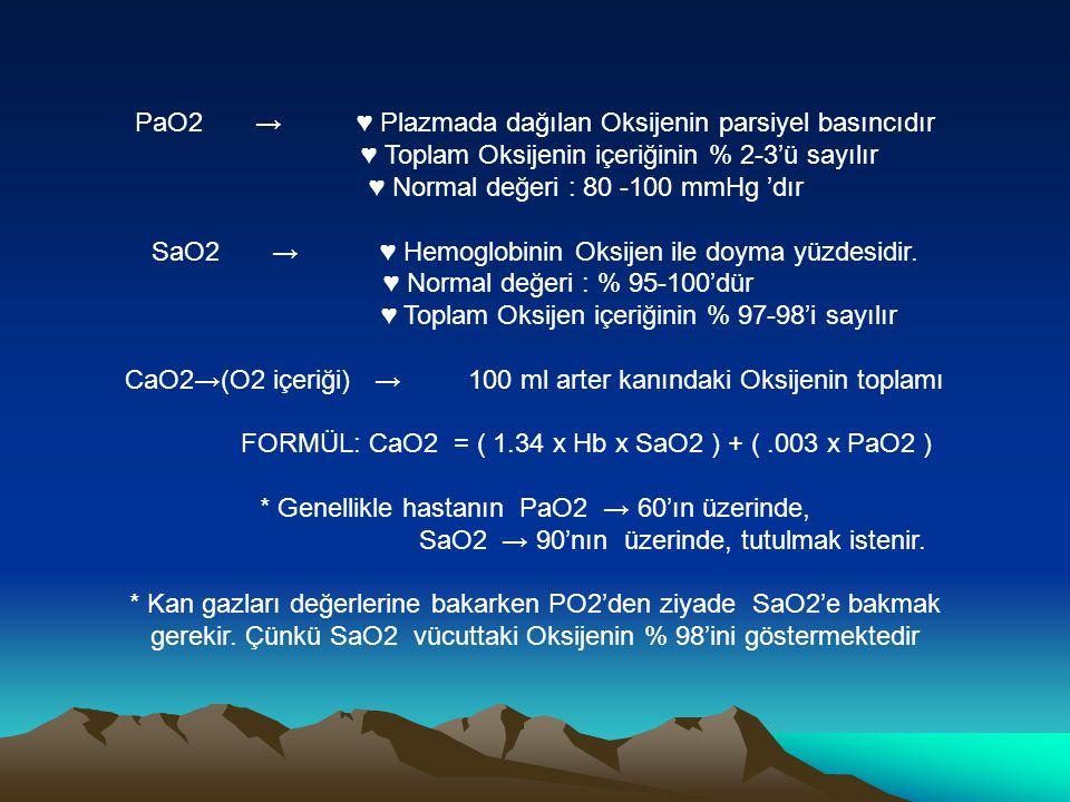 PaO2 → ♥ Plazmada dağılan Oksijenin parsiyel basıncıdır