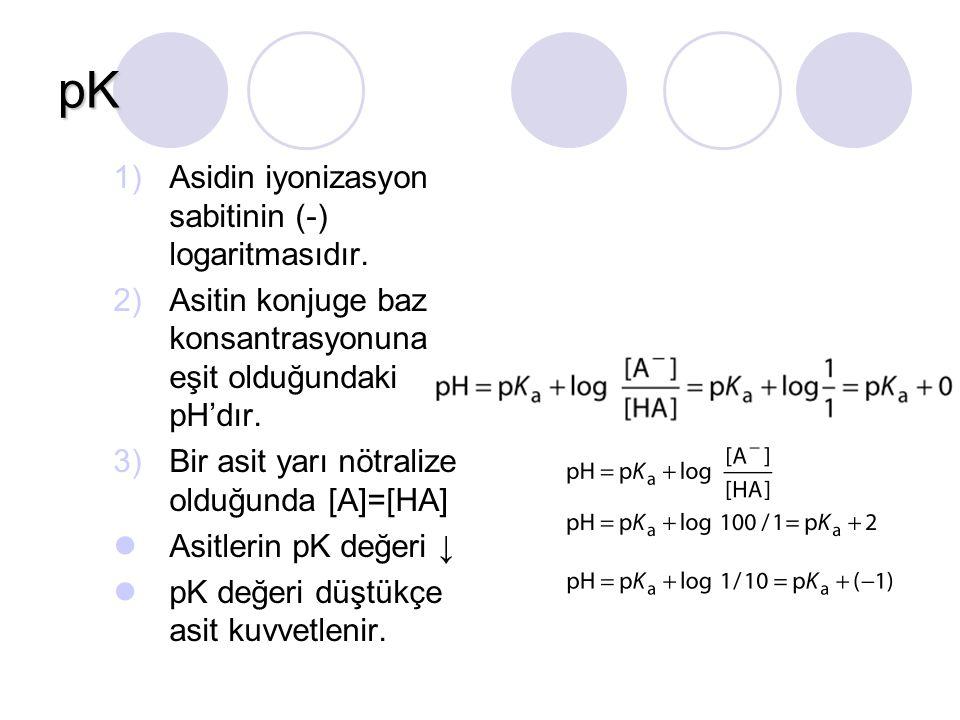 pK Asidin iyonizasyon sabitinin (-) logaritmasıdır.