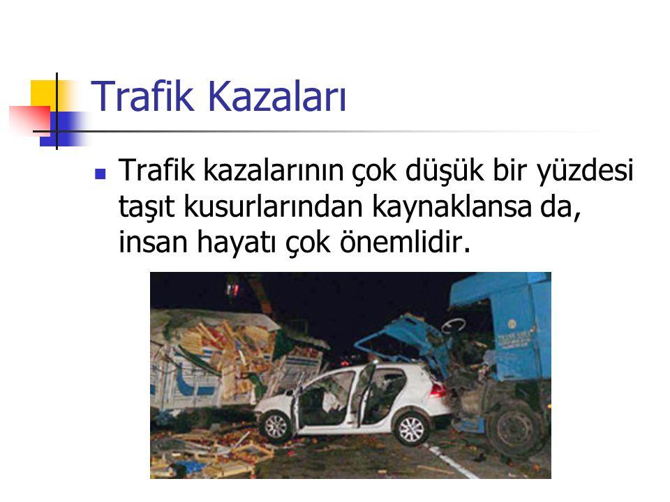 Trafik Kazaları Trafik kazalarının çok düşük bir yüzdesi taşıt kusurlarından kaynaklansa da, insan hayatı çok önemlidir.