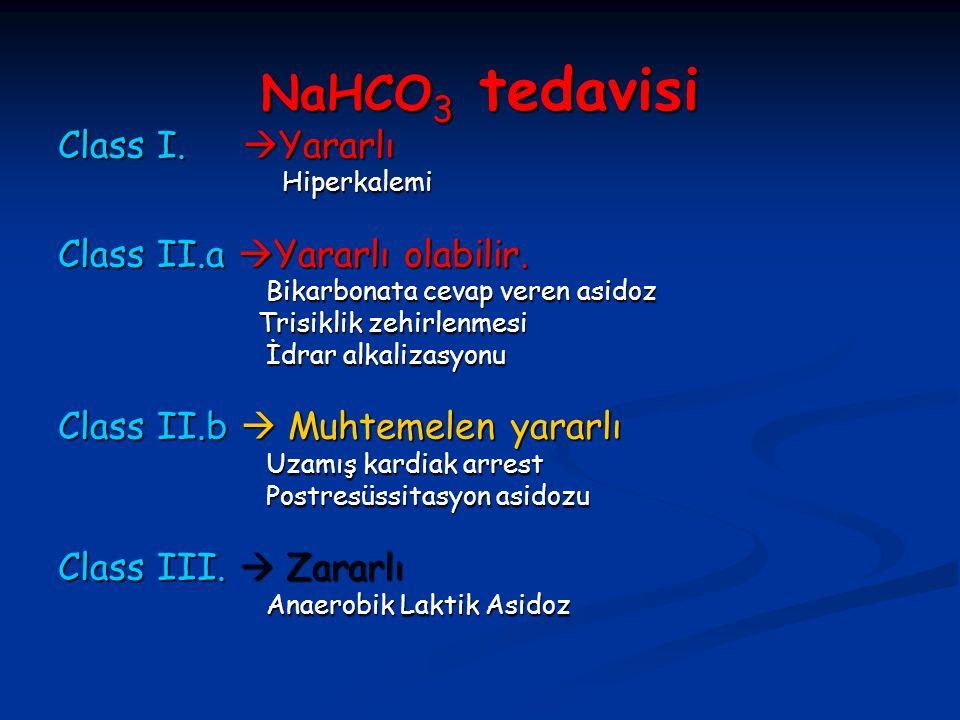 NaHCO3 tedavisi Class I. Yararlı Class II.a Yararlı olabilir.