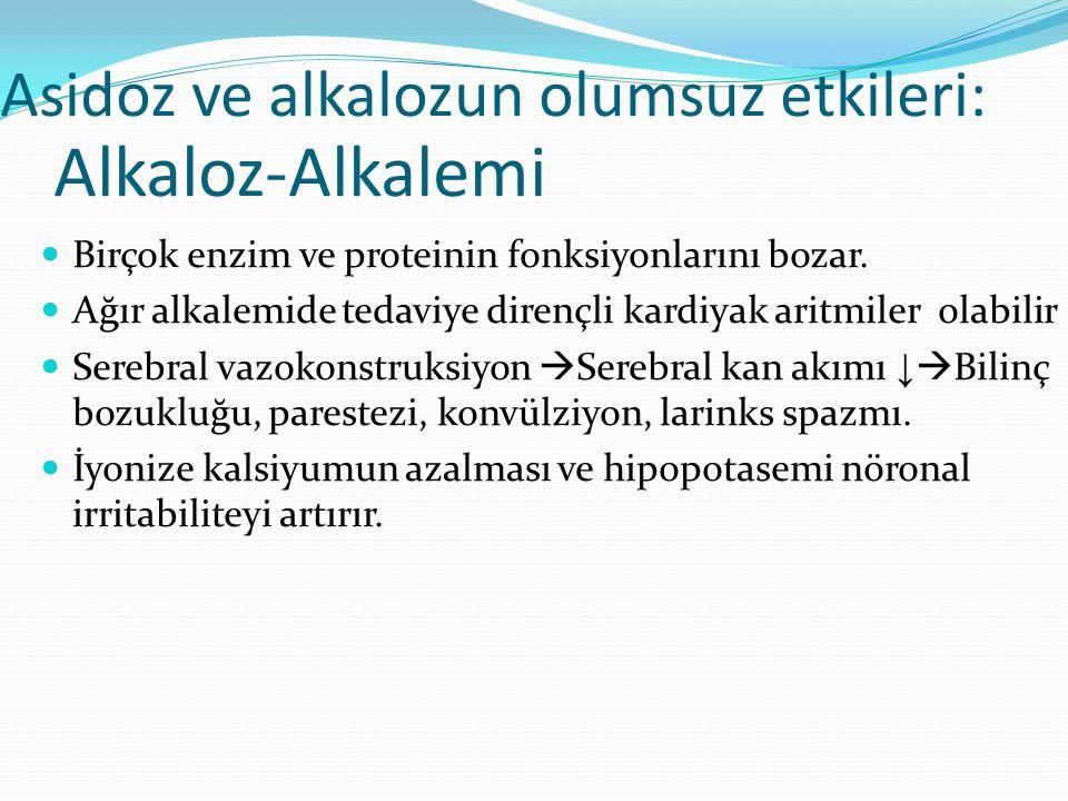 Alkaloz-Alkalemi Asidoz ve alkalozun olumsuz etkileri: