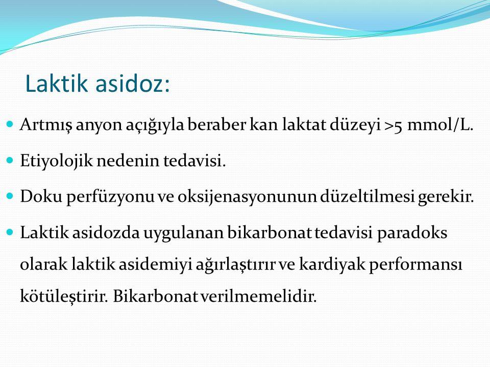 Laktik asidoz: Artmış anyon açığıyla beraber kan laktat düzeyi >5 mmol/L. Etiyolojik nedenin tedavisi.