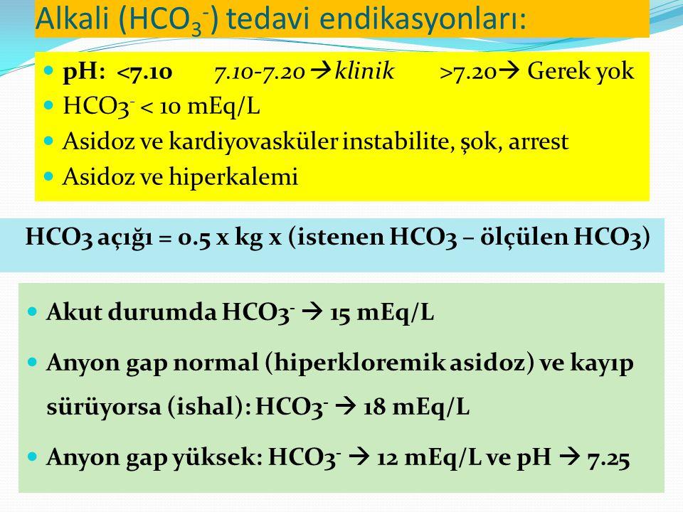Alkali (HCO3-) tedavi endikasyonları: