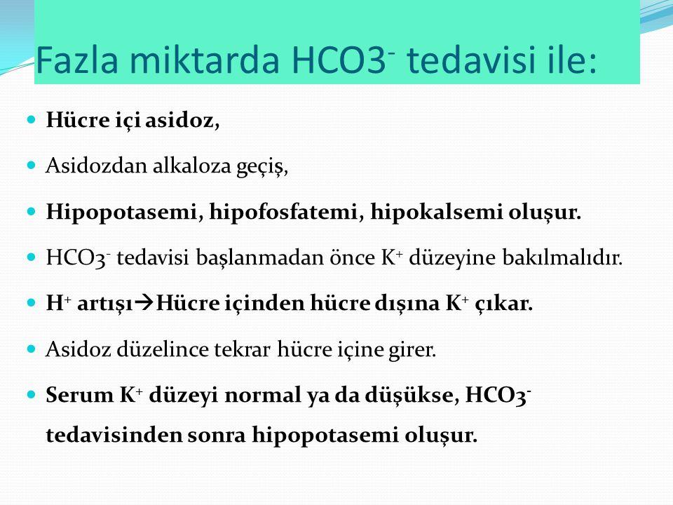 Fazla miktarda HCO3- tedavisi ile: