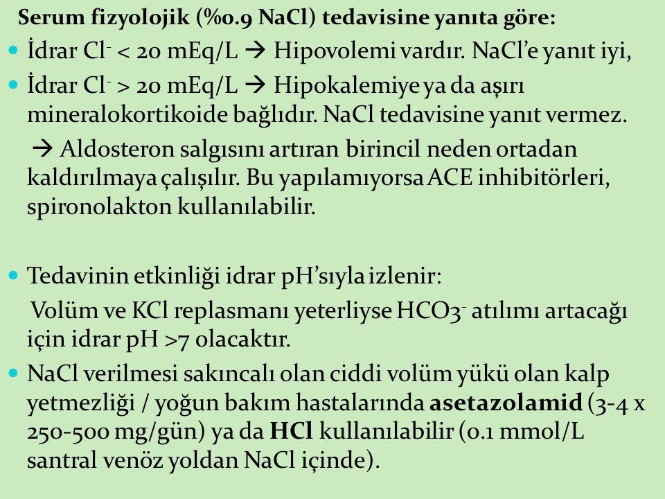 İdrar Cl- < 20 mEq/L  Hipovolemi vardır. NaCl'e yanıt iyi,