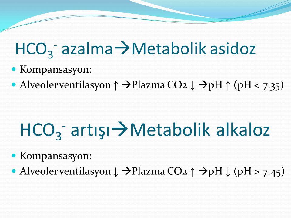 HCO3- azalmaMetabolik asidoz