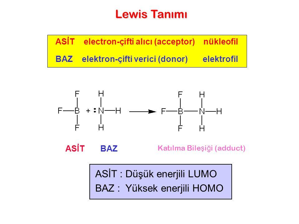 Lewis Tanımı ASİT : Düşük enerjili LUMO BAZ : Yüksek enerjili HOMO