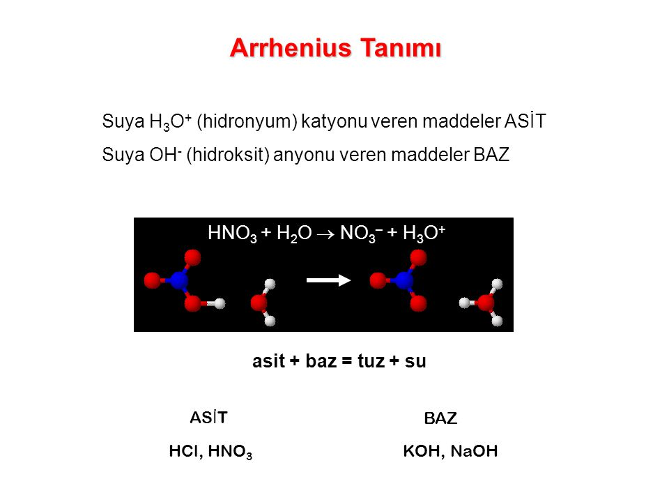 Arrhenius Tanımı Suya H3O+ (hidronyum) katyonu veren maddeler ASİT