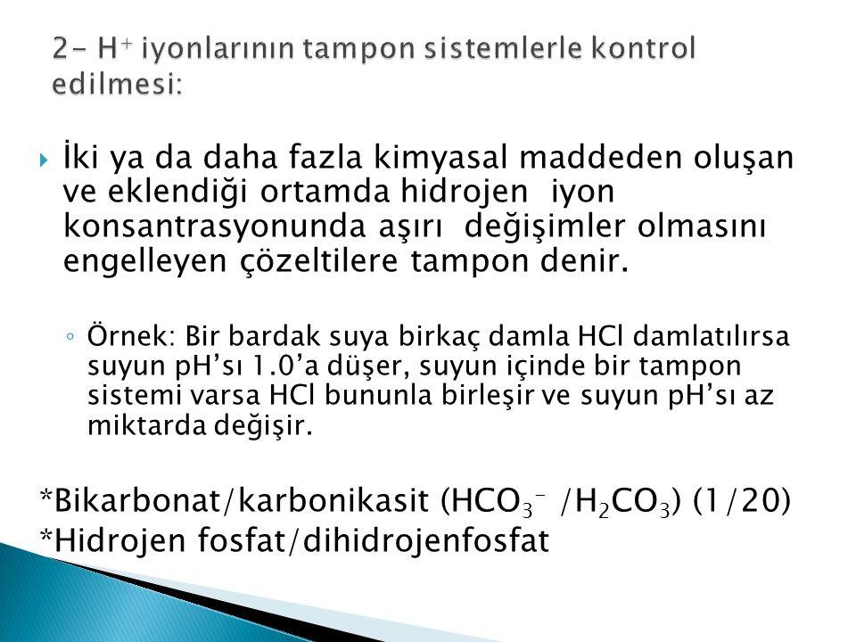 2- H+ iyonlarının tampon sistemlerle kontrol edilmesi: