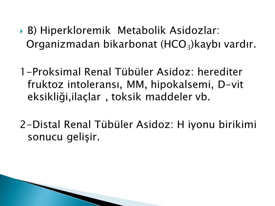 B) Hiperkloremik Metabolik Asidozlar: