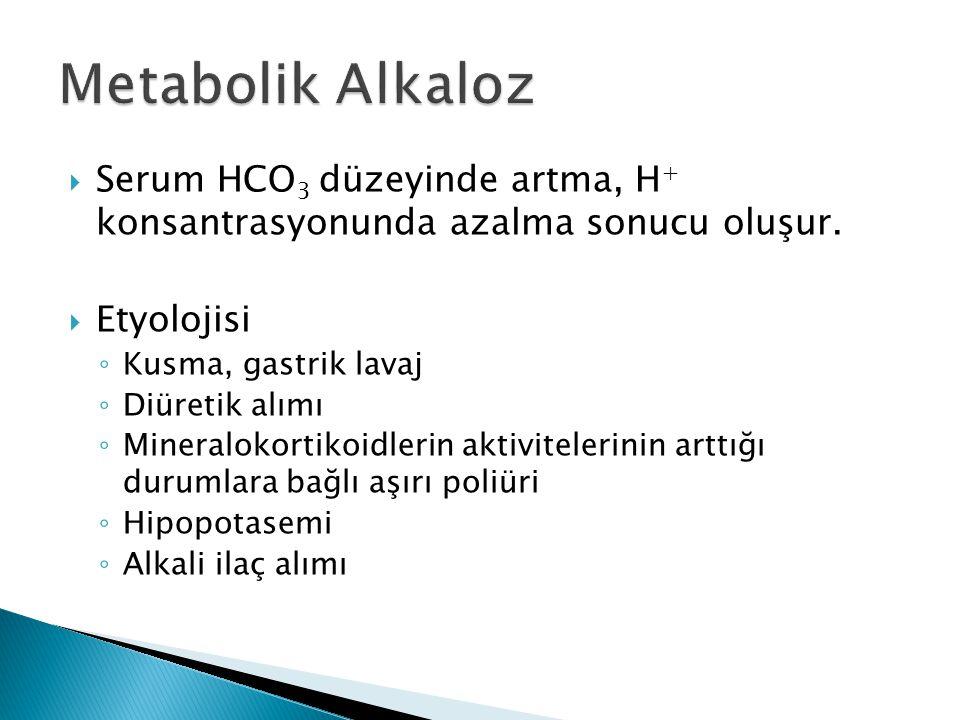 Metabolik Alkaloz Serum HCO3 düzeyinde artma, H+ konsantrasyonunda azalma sonucu oluşur. Etyolojisi.
