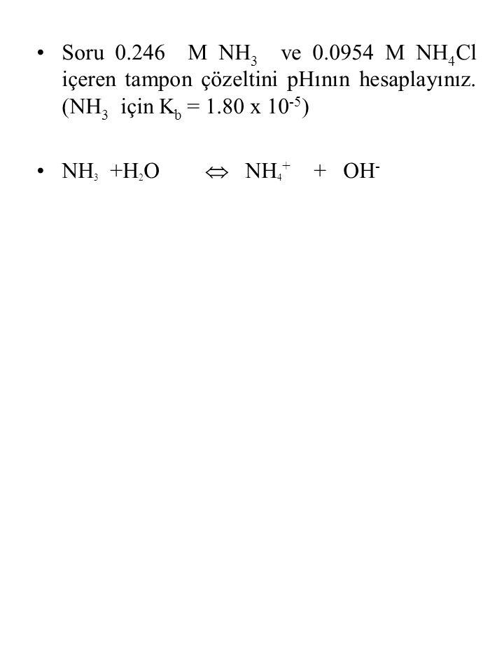 Soru 0.246 M NH3 ve 0.0954 M NH4Cl içeren tampon çözeltini pHının hesaplayınız. (NH3 için Kb = 1.80 x 10-5)