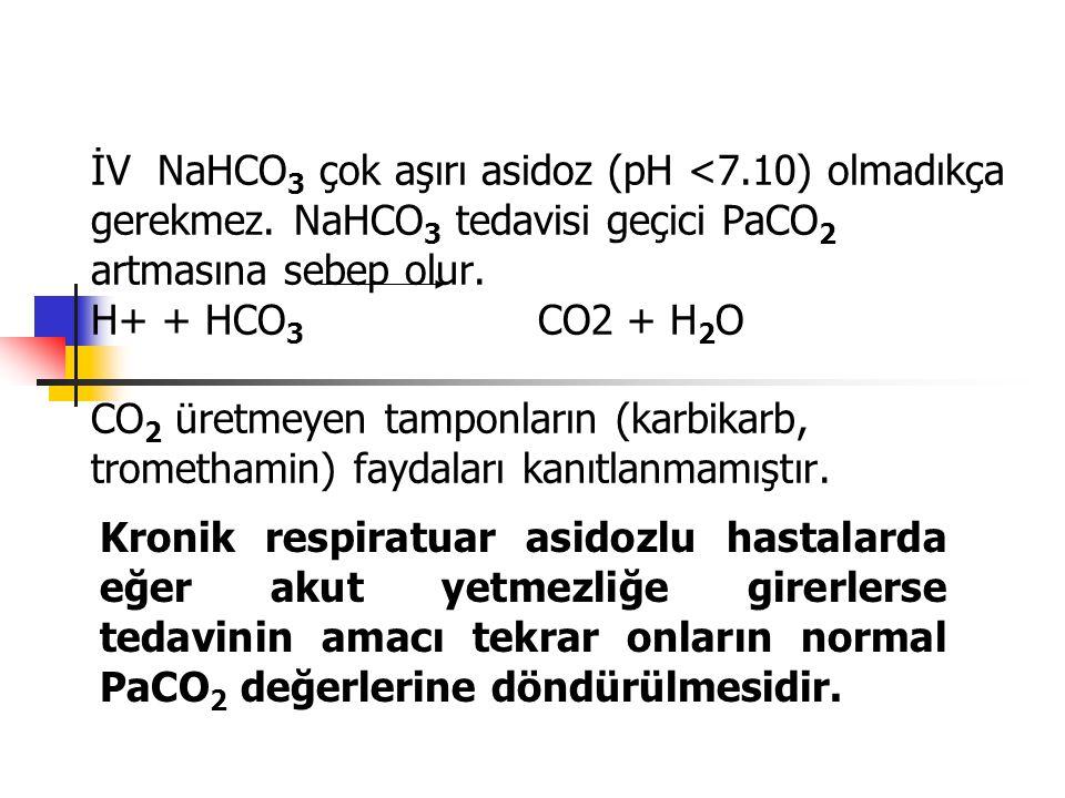İV NaHCO3 çok aşırı asidoz (pH <7. 10) olmadıkça gerekmez