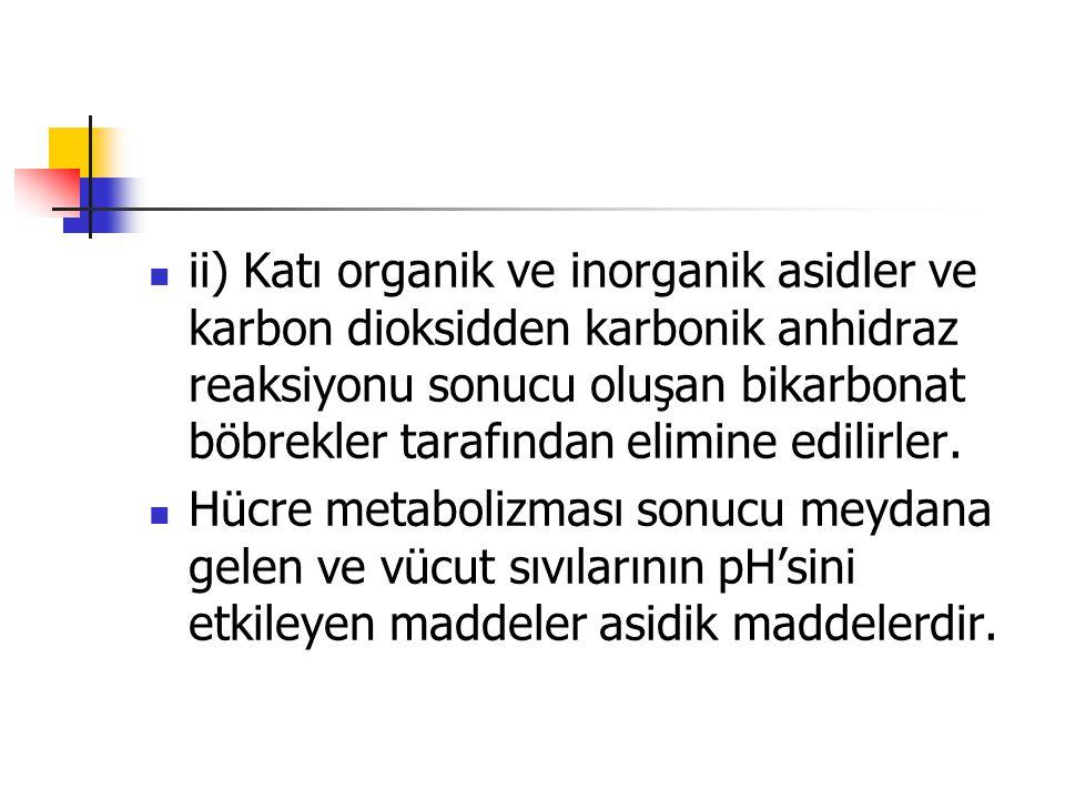 ii) Katı organik ve inorganik asidler ve karbon dioksidden karbonik anhidraz reaksiyonu sonucu oluşan bikarbonat böbrekler tarafından elimine edilirler.
